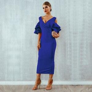 Image 5 - Женское платье с рукавом бабочкой, элегантное платье средней длины с открытыми плечами и V образным вырезом, лето 2020
