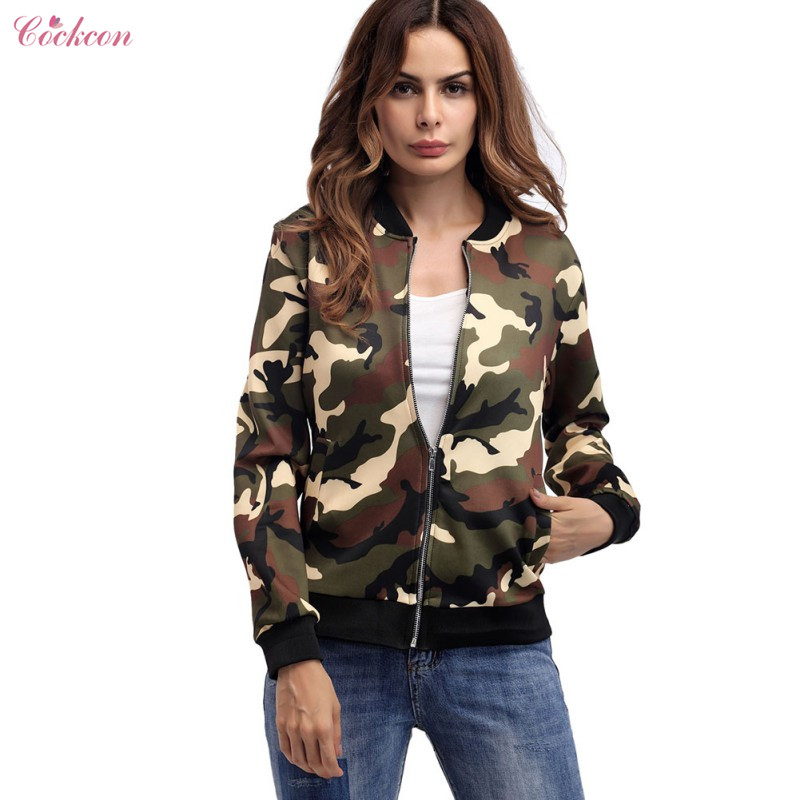 Camouflage   Jackets   Women Casual Slim   Basic     jacket   Army Green 2018 Fashion Autumn Printed Long Sleeve Outwear Dropshipping Hot