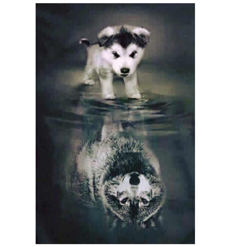 Animales 5d DIY diamante pintura ronda completa perro Lobo sombra mosaico pegado Bordado costura d154