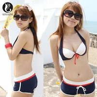 Hanging Neck Deep V Collar Women S Split Bikini Sets Underwire With Padded Patchwork Swimsuit Mid