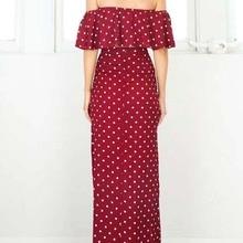 Backless Side Split  Polka Dot Dress Crop Two Piece Off Shoulder Ruffle Kleider Womens Long Summer 70j073