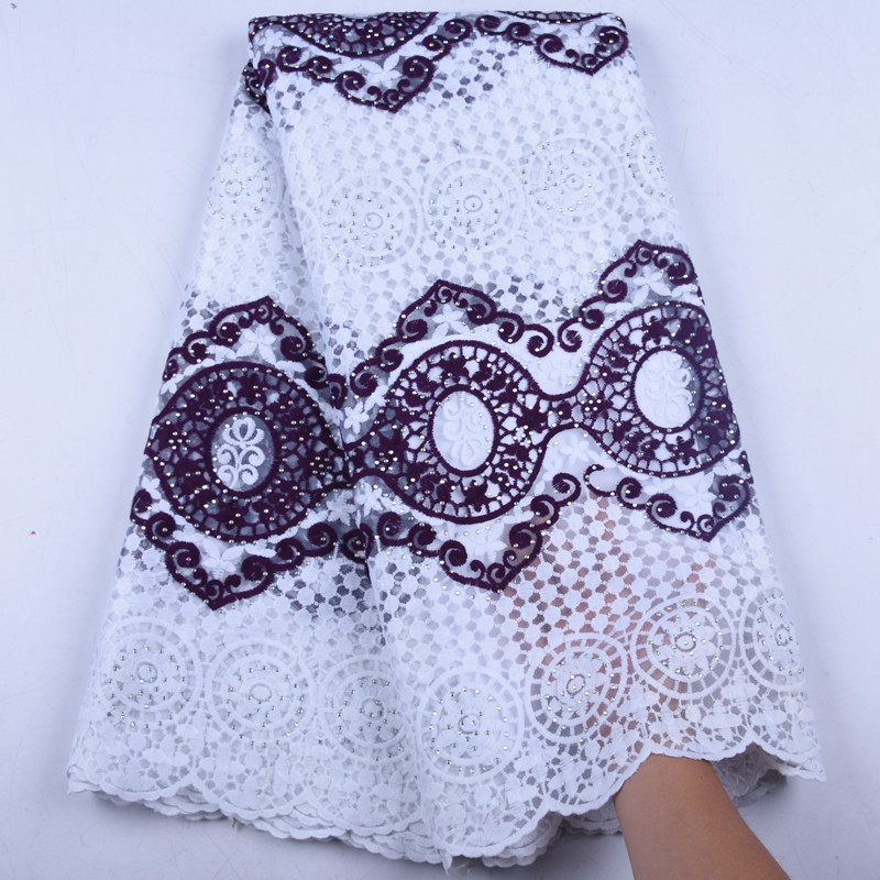 New Arrival African Lace Fabrics Purple Color Nigerian Lace Fabric 2019 High Quality French Milk Silk