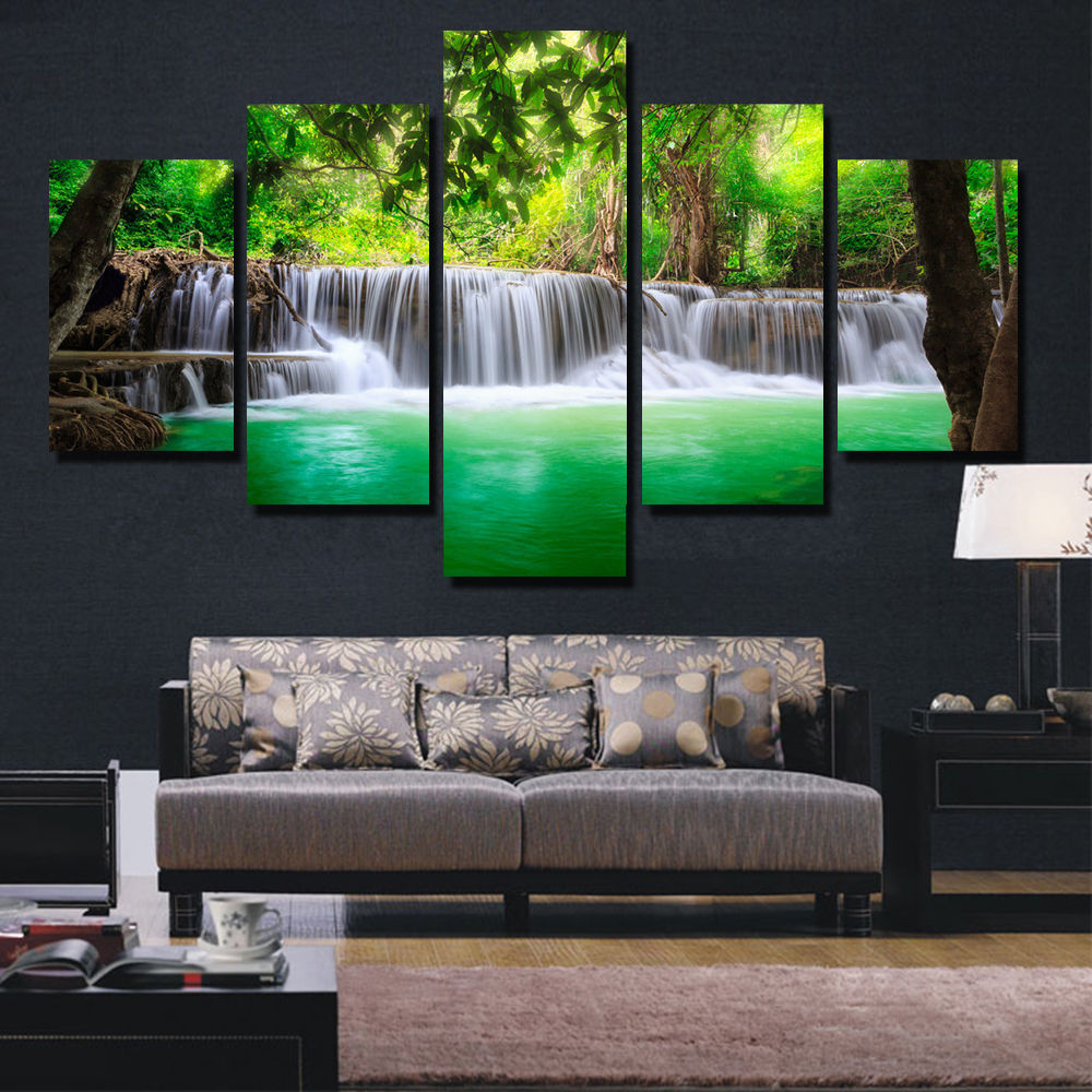 Picture For Home Decoration: BANMU 5 Panel Waterfall Painting Canvas Wall Art Picture