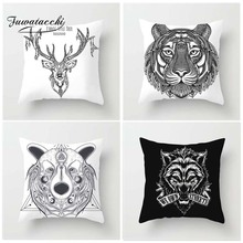 Fuwatacchi Sketch Painting Style Tiger Cushion Cover Cat Deer Pillow Case Dragon Lion Home Decorative Pillows Cover For Sofa Car