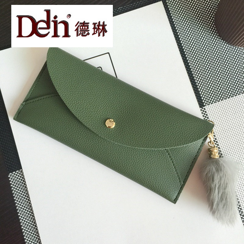 DELIN  hot style han edition buckles contracted envelope handbags wallet female long soft leather PU wallet wallet concept of vortex female student individuality creative watch han edition contracted fashion female table