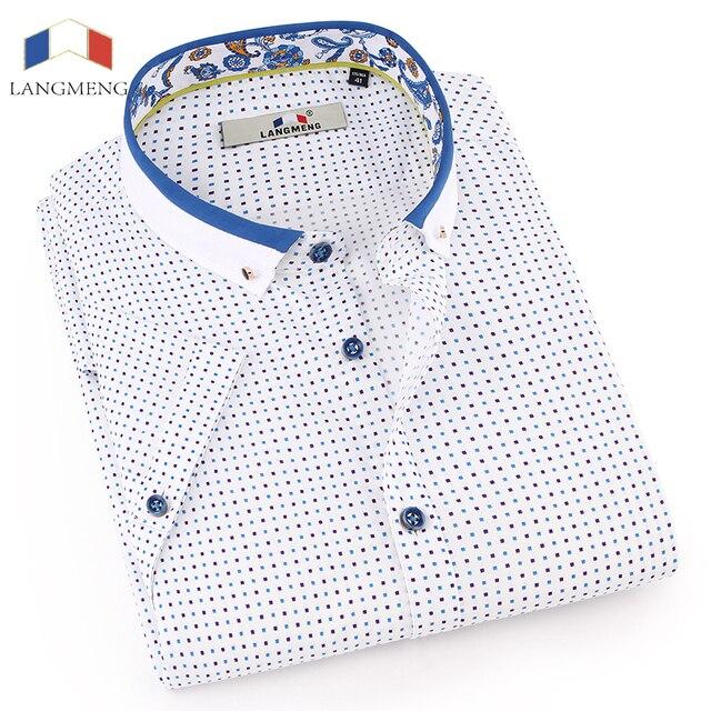 Langmeng Горячие Лето 2017 г. Новая модная брендовая одежда Для мужчин футболка с коротким рукавом в горошек Slim Fit рубашка 100% хлопок Рубашки домашние муж.