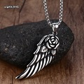 Mprainbow Young Mens Womens Vintage Rose Flower Angel Wing Stainless Steel Necklace Charms Pendant Rock Punk Style Jewelry