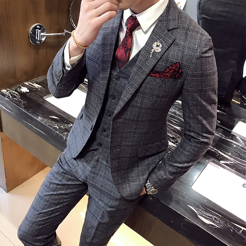 Fall 2019 collection checked suit men 's clothing, The fashion leisure unapologetically wedding suit three piece suit