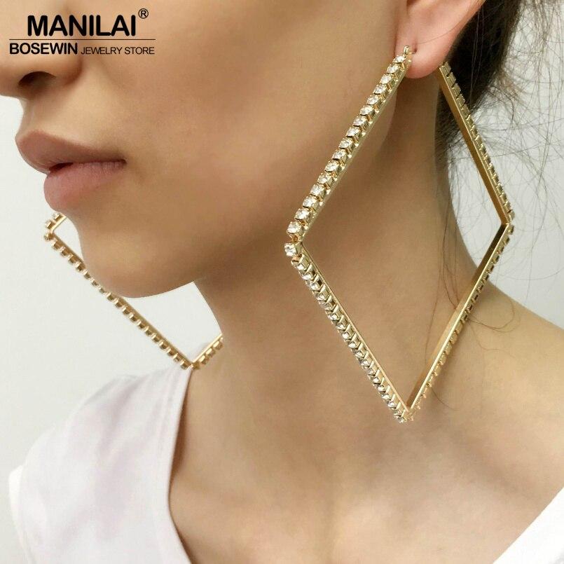 MANILAI Luxury 80mm Square Metal Big Hoop Earrings Statement Jewelry  Rhinestones Earrings For Women Wedding Jewelry Brincos 2018-in Hoop Earrings  from ... f45ede016534