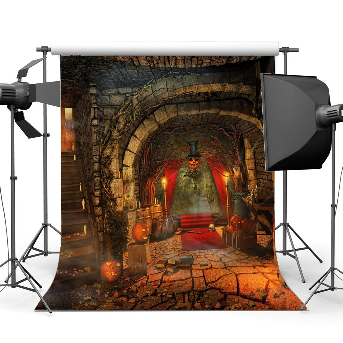 Photography Backdrops Halloween Horror Night Mysterious Red Carpet Skull Indoor Stair Vintage Floor Photo Background