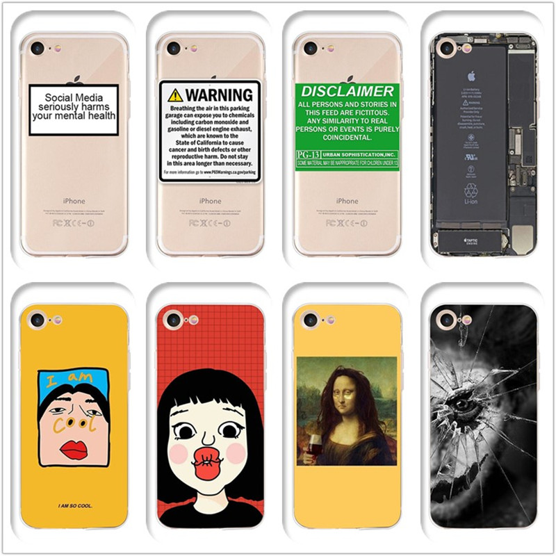 Unique personality trend pattern printing soft cover cases for iphone x xr xs max phone shell 7 8 6s 6 plus funny Coque 5s 5 se in Half wrapped Cases from Cellphones Telecommunications