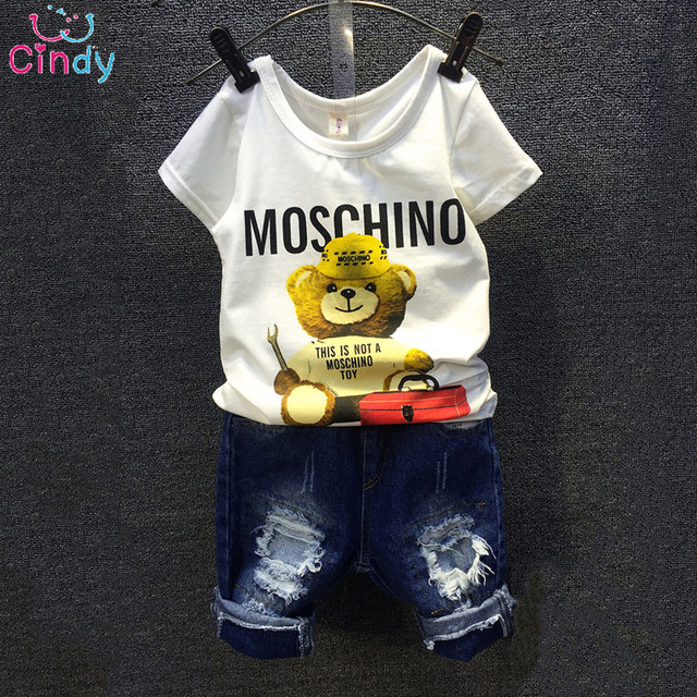 2016 Children Sets Cartoon Bear White T Shirt Ripped Denim Shorts 2 Pieces Girls Clothing Sets Casual Summer Boys Clothing Sets