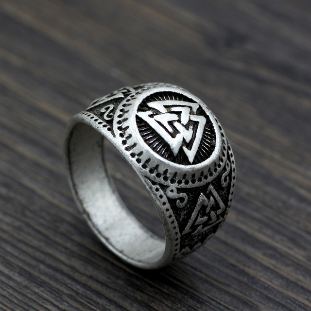 youe shone ethnic men norse viking odins symbol amulet wiccan pagan ring size 105 - Norse Wedding Rings