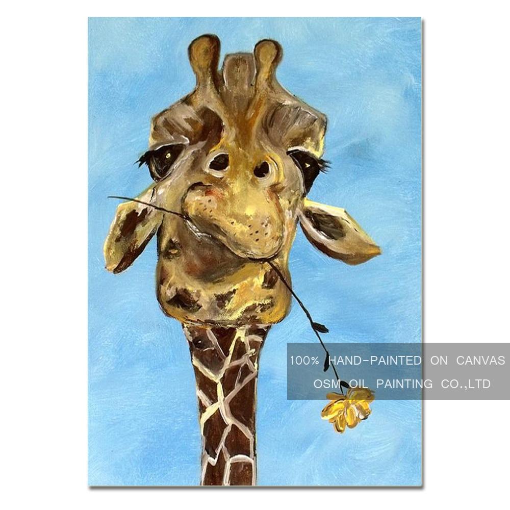 high skills artist hand painted funny animal giraffe oil