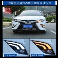 smRKE For Toyota Camry 2018 XSE SE DRL LED Fog Lamp Daytime Running Lights White Driving Light + Yellow Turn Signal