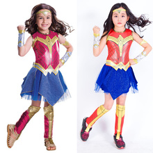 Child Justice League Superhero Wonder Women Costume Super Girl Supergirl Cosplay Fantasia Fancy Dress