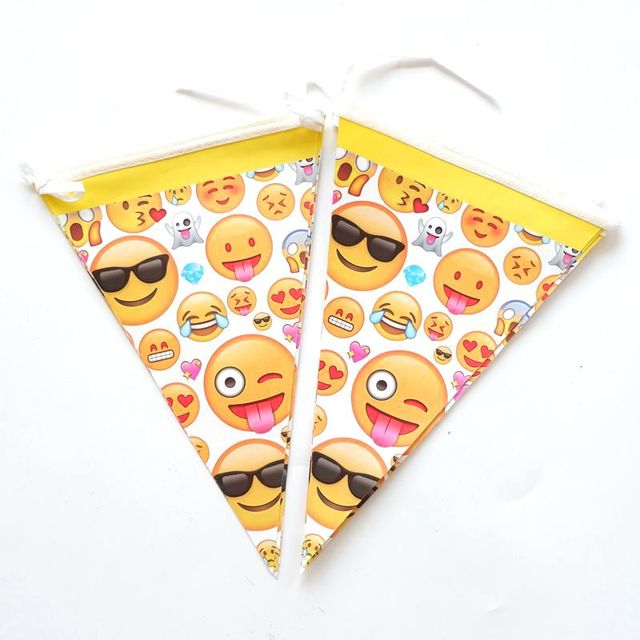 10Pcs Emoji Theme Party Cartoon Flag Kids Girls Baby Happy Birthday Decor Paper Banner Shower Favors
