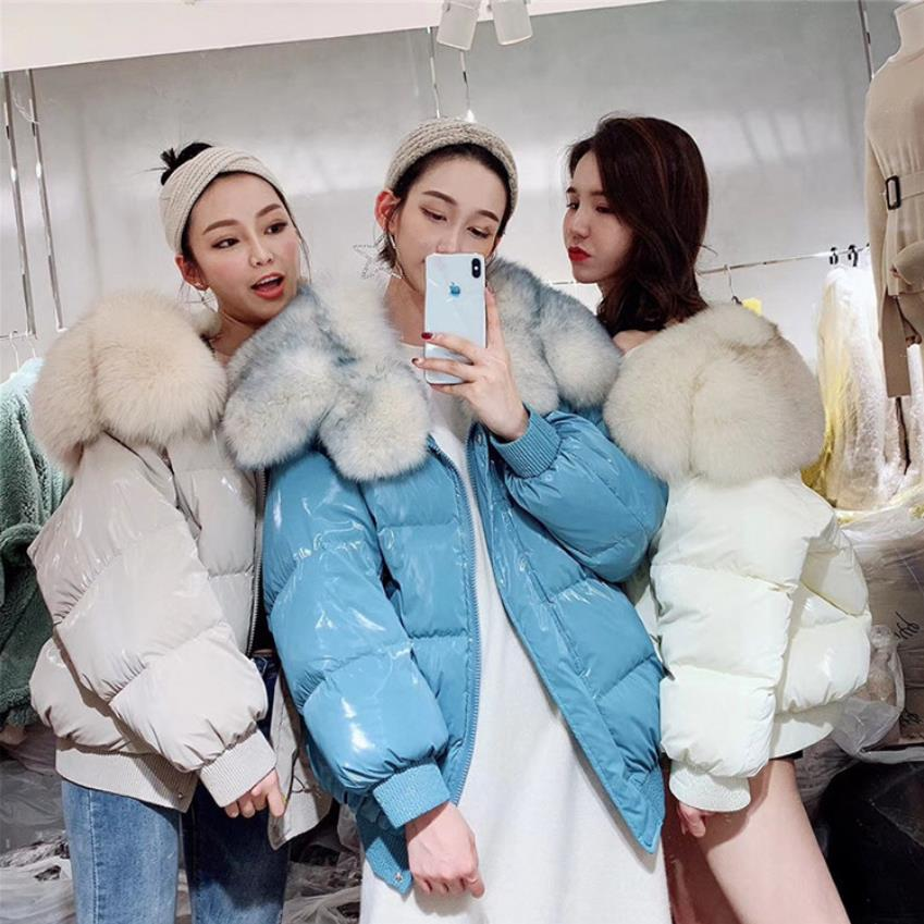Winter fashion brand big real fox fur collar duck   down     coat   female zipper stitching oversize clorak style warm   down   parkas wq705