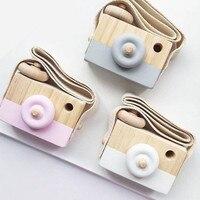 Симпатичные скандинавском стиле Висячие деревянные камеры игрушки для малышей, детей безопасный Природный развивающие игрушки модные дом...