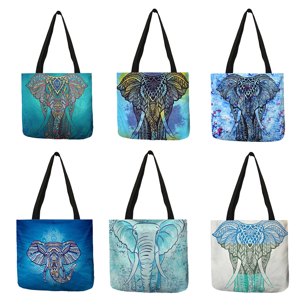 Customized Elephant Mandala Print Linen Tote Bag For Women Fashion Reusable Shopping Bags Printed Traveling School Shoulder Bags