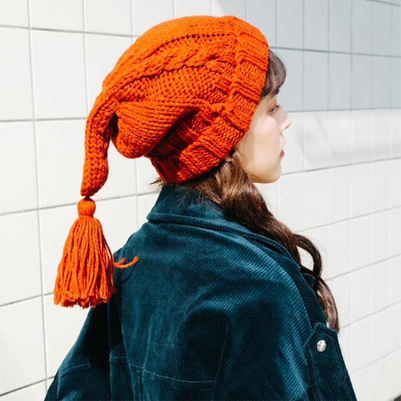 EOEODOIT Autumn Winter Hat Caps With Long Fringe Tail Sweet Cute Girls Snow Knitted Caps Warm   Skullies     Beanies   Vogue