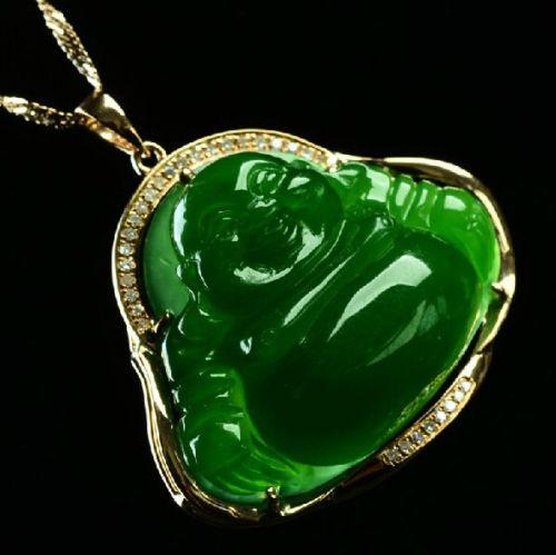 Ddh001427 collar colgante chino hetian jade verde jasper 18 K oro feliz sonrisa de buda