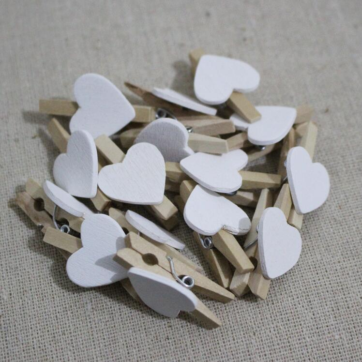 10pcs/Lot New Fashion Cute Special Gift White Color Heart Wooden Clip  Mini Bag Clip Paper Clips Wood Pegs