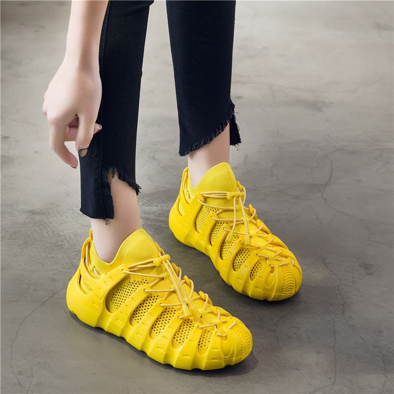 Sock Shoes Sneakers Low-Heels White Mesh Summer Lace-Up Hollow-Out Casual Girls