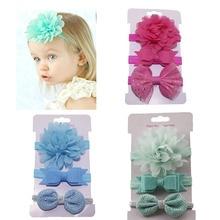 3pcs Baby Girls Flower Headbands FOE Elastic Hair bands Bowknot Ribbon bows Headband Hair Ties Headwear цены онлайн