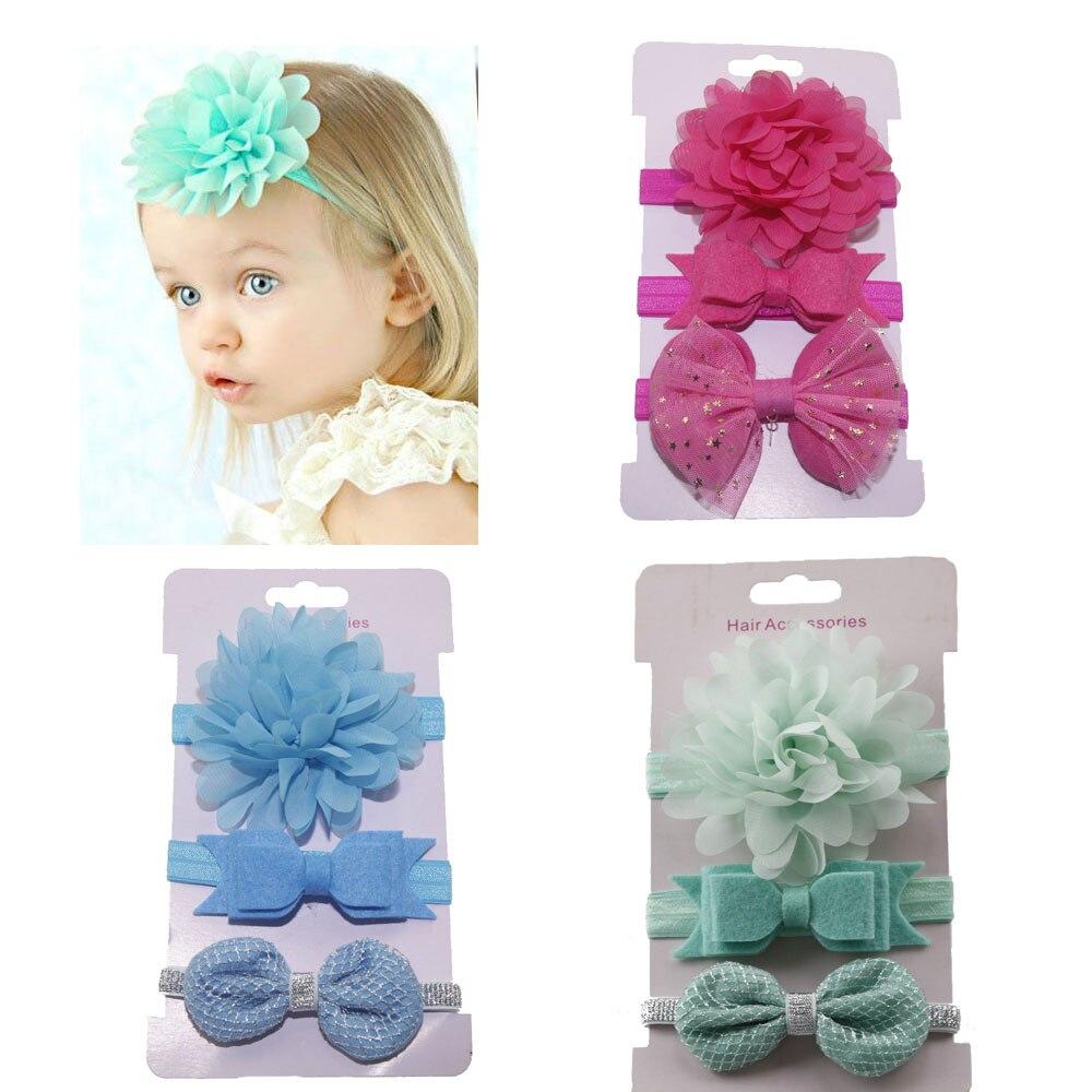 3pcs Baby Girls Flower Headbands FOE Elastic Hair bands Bowknot Ribbon bows Headband Hair Ties   Headwear
