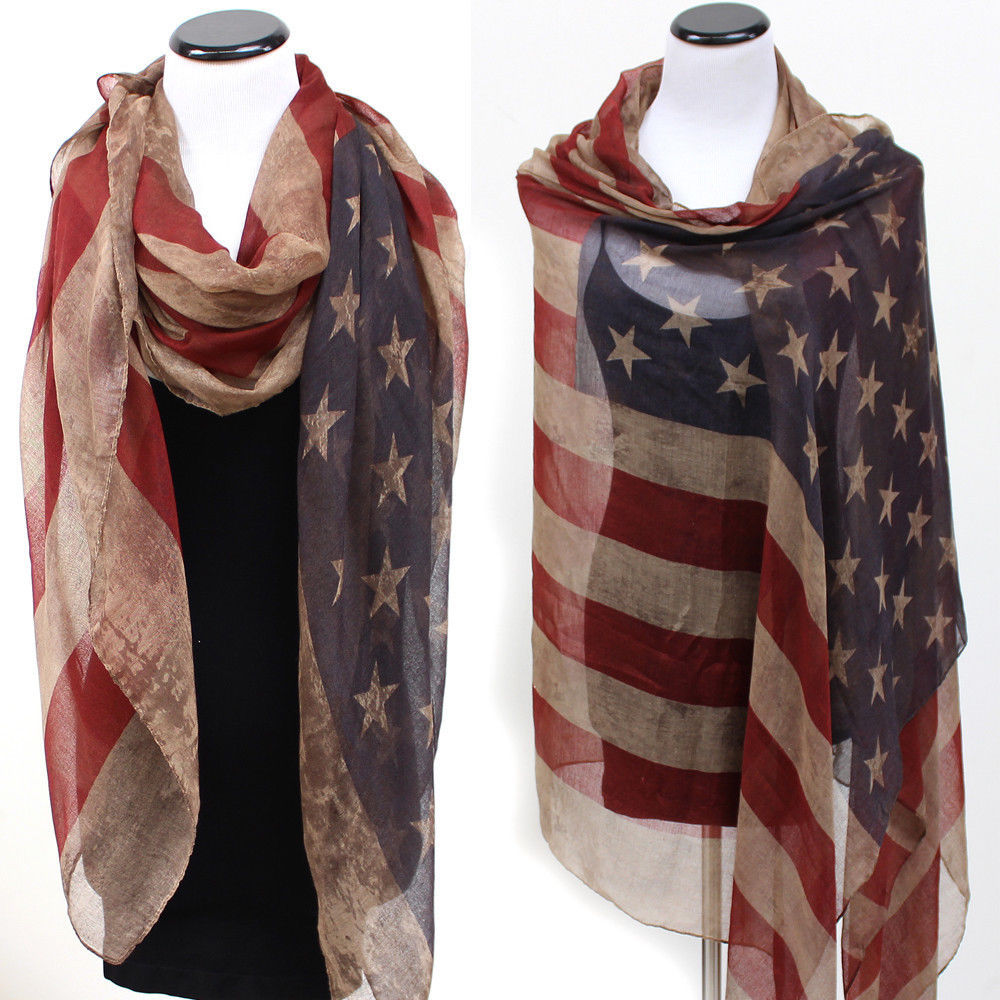 Vintage Patriotic USA American Flag Theme   Scarf     Scarves     Wrap   Long US Ship Gift