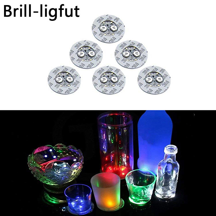 LED Glow Coaster LED Bottle Light Stickers Christmas Xmas Bar Club Party Vase Decoration LED Glorifier Mini Light Drink Cup Mat