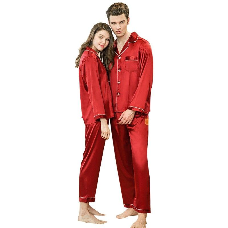 Simulation Silk V-neck Pocket Couple Pajamas Long-sleeved Trousers Pajamas Red Wedding Home Service Suit TZ779+710