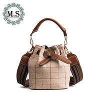 M S Women Bag Vintage Plaid Bucket Bag Women PU Leather Shoulder Bags Bow Brand Designer