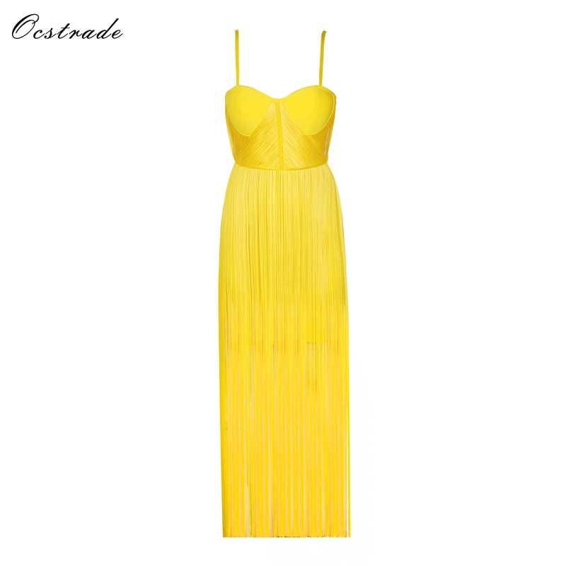 75c7b0d651 New 2018 High Quality Fashion Summer Sexy Maxi Dress Evening Party Acid  Yellow Satin Fringe Elegant Sexy Long Dress
