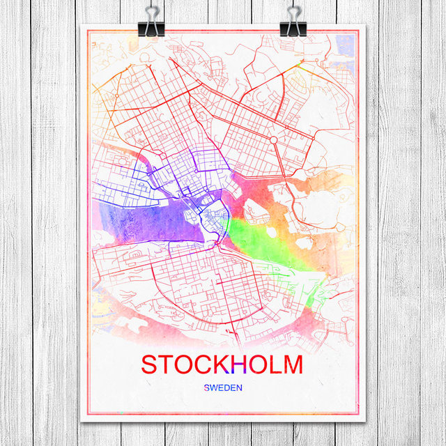 STOCKHOLM Sweden Colorful World City Map Print Poster Abstract