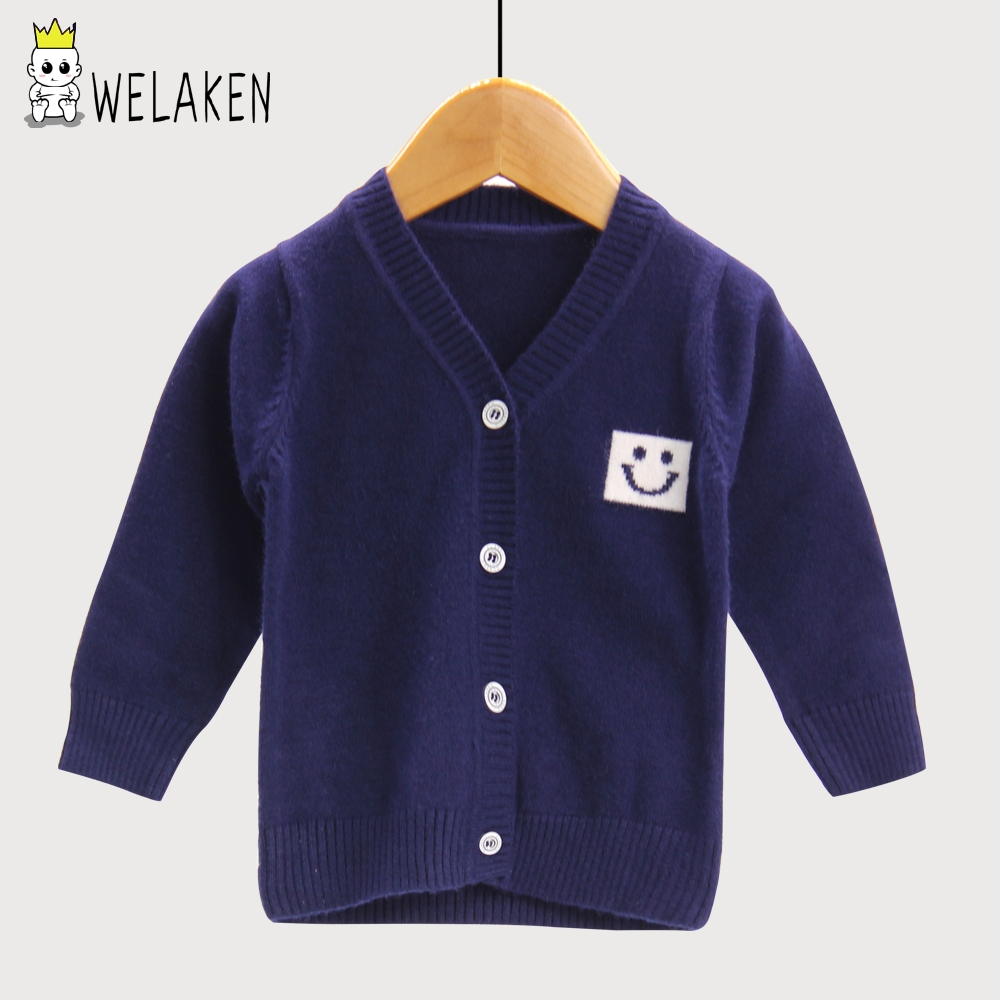 Welaken Boy Smile Coat Autumn Baby Boys Letter Pattern Cardigan Sweater Children Fashion Outerwear Sweater Kids Knitting Clothes 2019 New Fashion Style Online