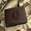 New guarantee retro genuine leather men's wallet vintage dragon style head cowhide short man purse carteira free shipping