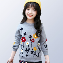 Girls Sweater Winter Children Sweater for Girls Christmas New Year Kids Pullover Embroidery Thicken Flower Sweaters Clothes 2018 autumn and winter new girls sweaters children clothes 4 14 years girls sweater b8001