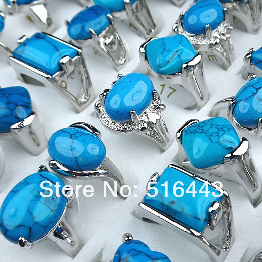 Wholesale 10ps Drop Natural Turquoise Gemstone Silver Plated Beads Pendant FREE