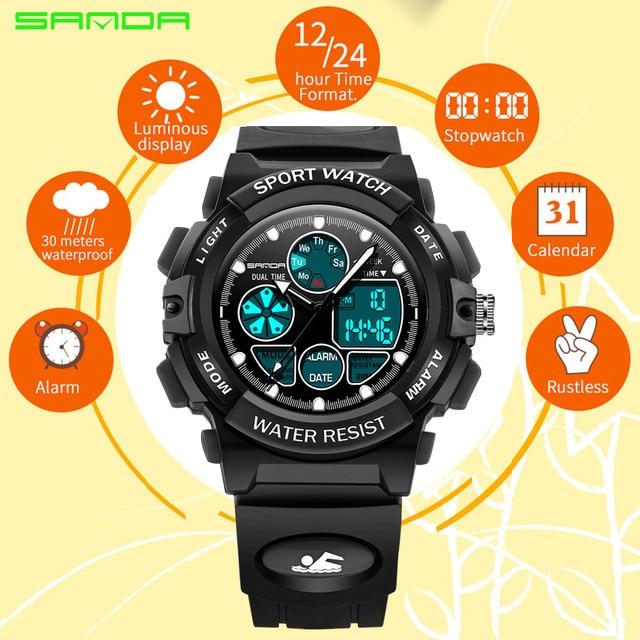 Kids Alarm Clock SANDA Children Sports Watches LED Digital Quartz Military Watch