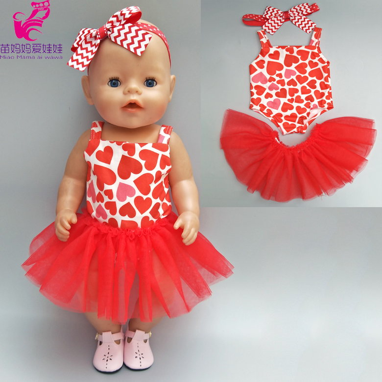 Doll clothes for 43cm Bebe Born Doll Red dress with headband for 18 american girl doll tulle dress toys wear christmas costume dress for 18 45cm american girl doll santa dress with hat for alexander doll dress