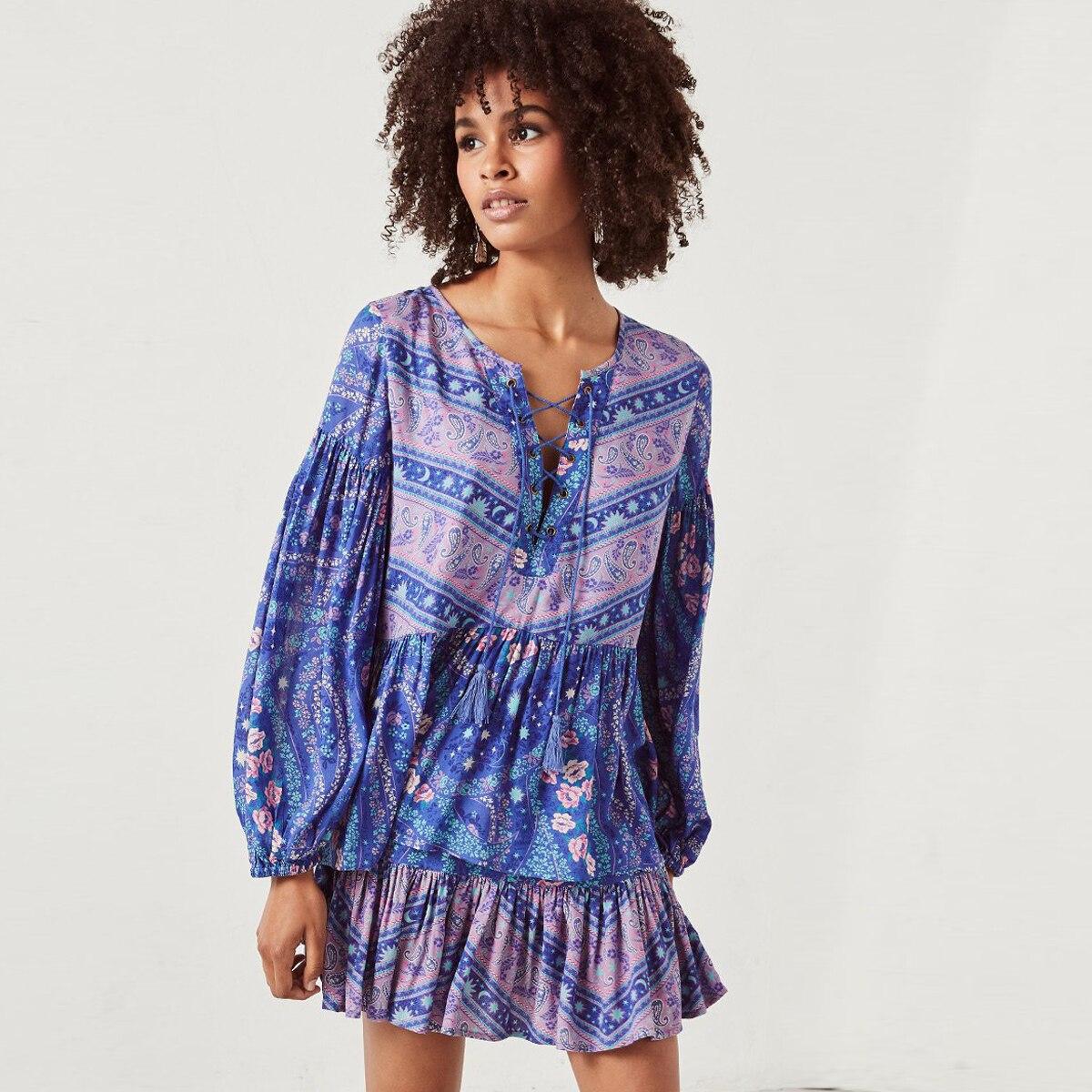 50617f2abc Aliexpress.com : Buy Pirate Curiosity Women 2 Piece Set Dress V Neck Long  Sleeve Mini Dress Boho Hippie Print Dress Casual Beach Dress Vestidos 2018  from ...