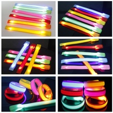 500pcs lot Nylon Glowing Bracelet LED lights Flash Bracelets Wrist Ring Warnings Running Glowing Armband Free