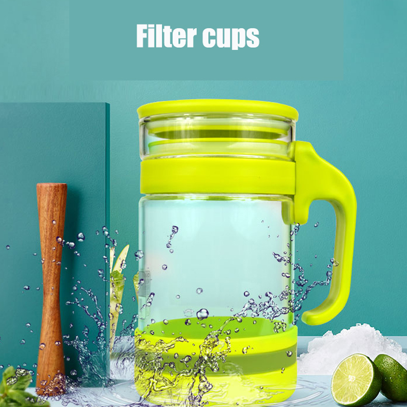 2017 NEW 450ml Heat Resistant Glass Tea Herbal Floral Tea Heat Insulation Home Office Filter office Drinking Teapot cups