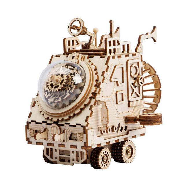 Robotime Steampunk DIY Robot Wooden Clockwork Music Box Home Decoration Accessories Anniversary Gift For Husband Men AM601