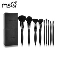 MSQ Makeup Brushes Sets Professional Cosmetics Makeup Brush Sets 10PCs Synthetic Hair Brushes Kits Solid Black