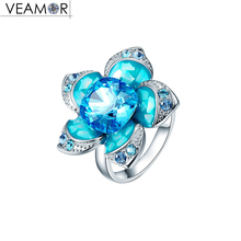 VEAMOR flower ring for women luxury blue crystals from Australia big ring female with enamel  fashion jewelry size 6 7 8