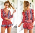 Spring Summer Jumpsuit Bohemia Print Long Sleeve Shorts Playsuit Overalls Rompers Women Beach Wear macacao feminino S51206