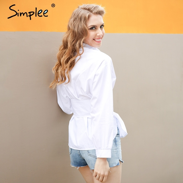 Simplee Causal lace up white blouse shirt Fashion long sleeve cummerbund belt streetwear blusas Summer slim button women blouses